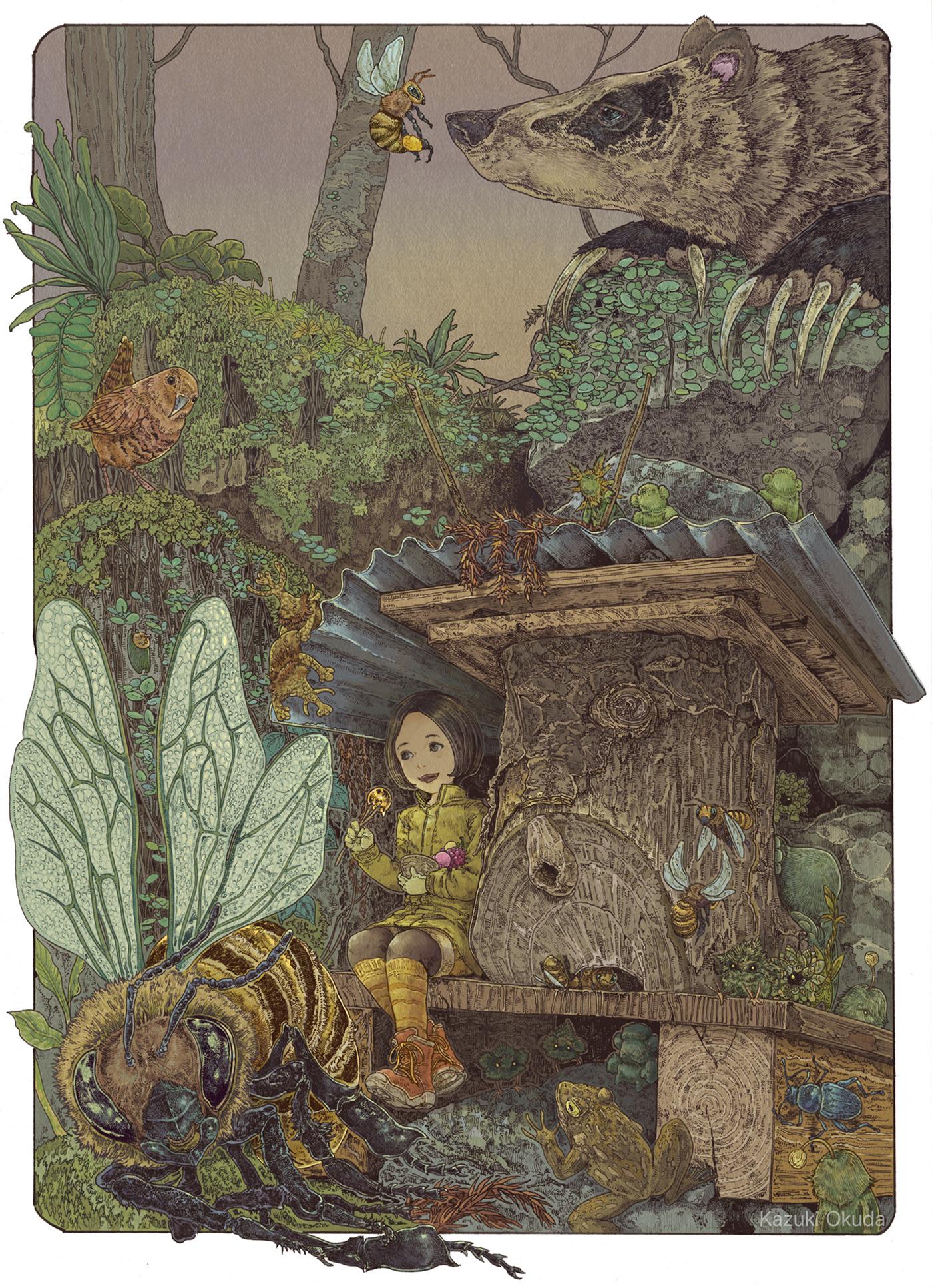 animal fairytale fantasy girl ILLUSTRATION  insect japan Landscape Nature photoshop