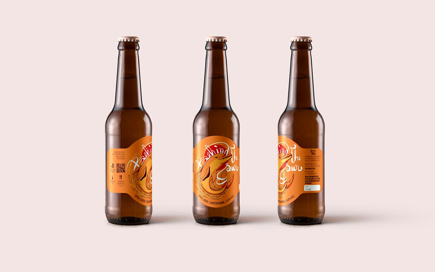 rótulo Cerveja Ilustração golfinho grafico impressão