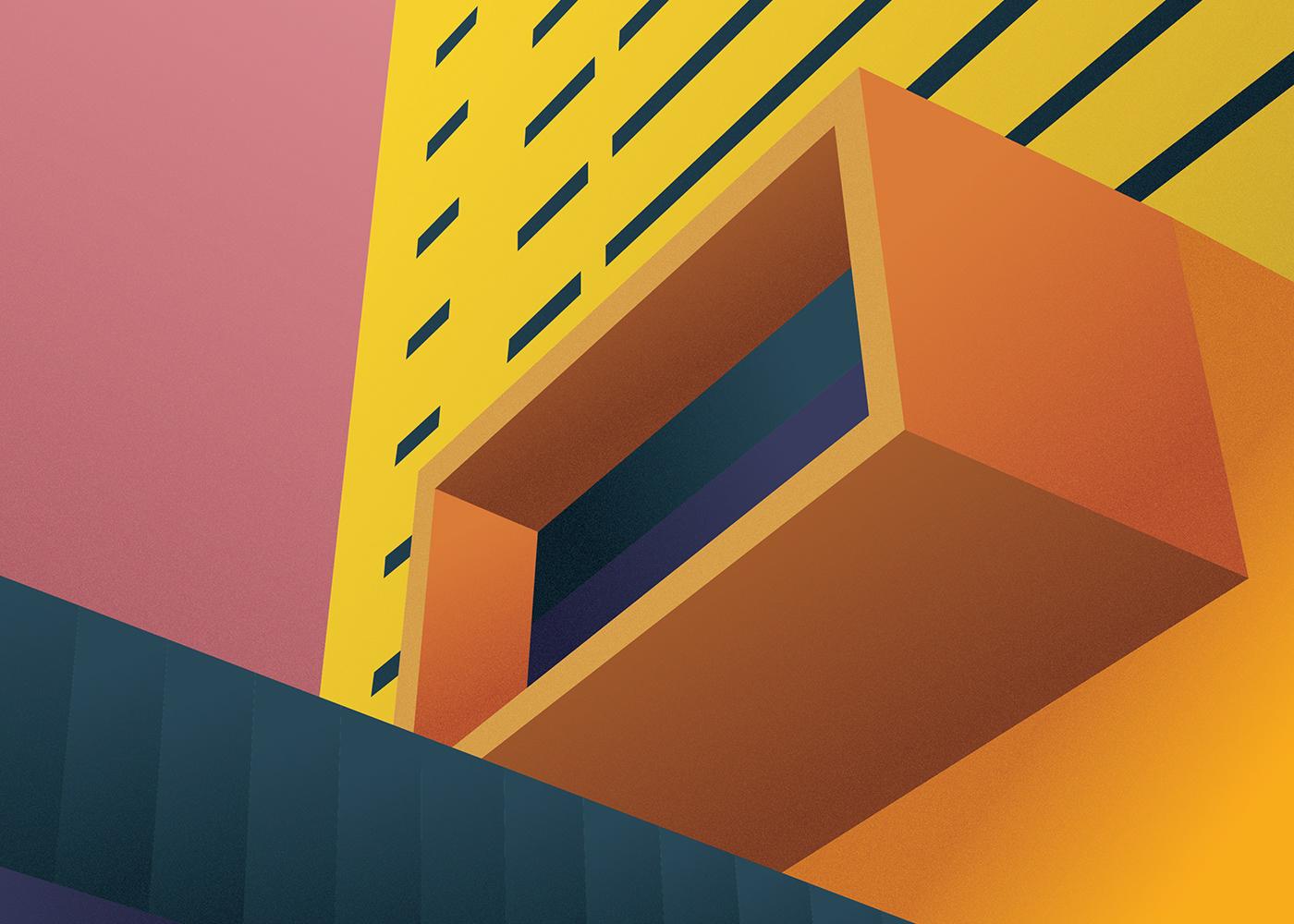 architecture geometric Architecture Illustrations minimal bold colors architectural illustration graphic design  geometric architecture  minimal illustration Building Illustration
