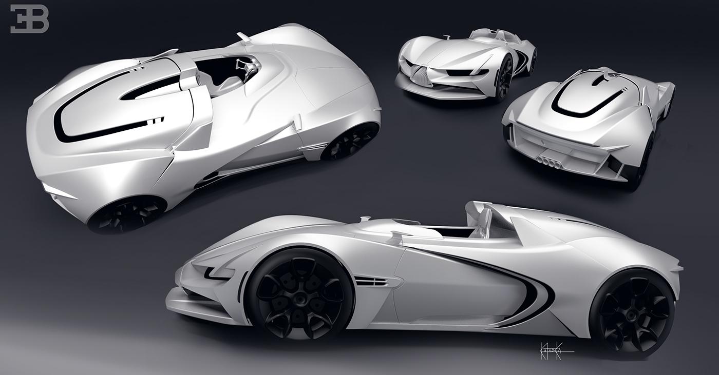 bugatti roadster concept sport car sketch 2D 3D design