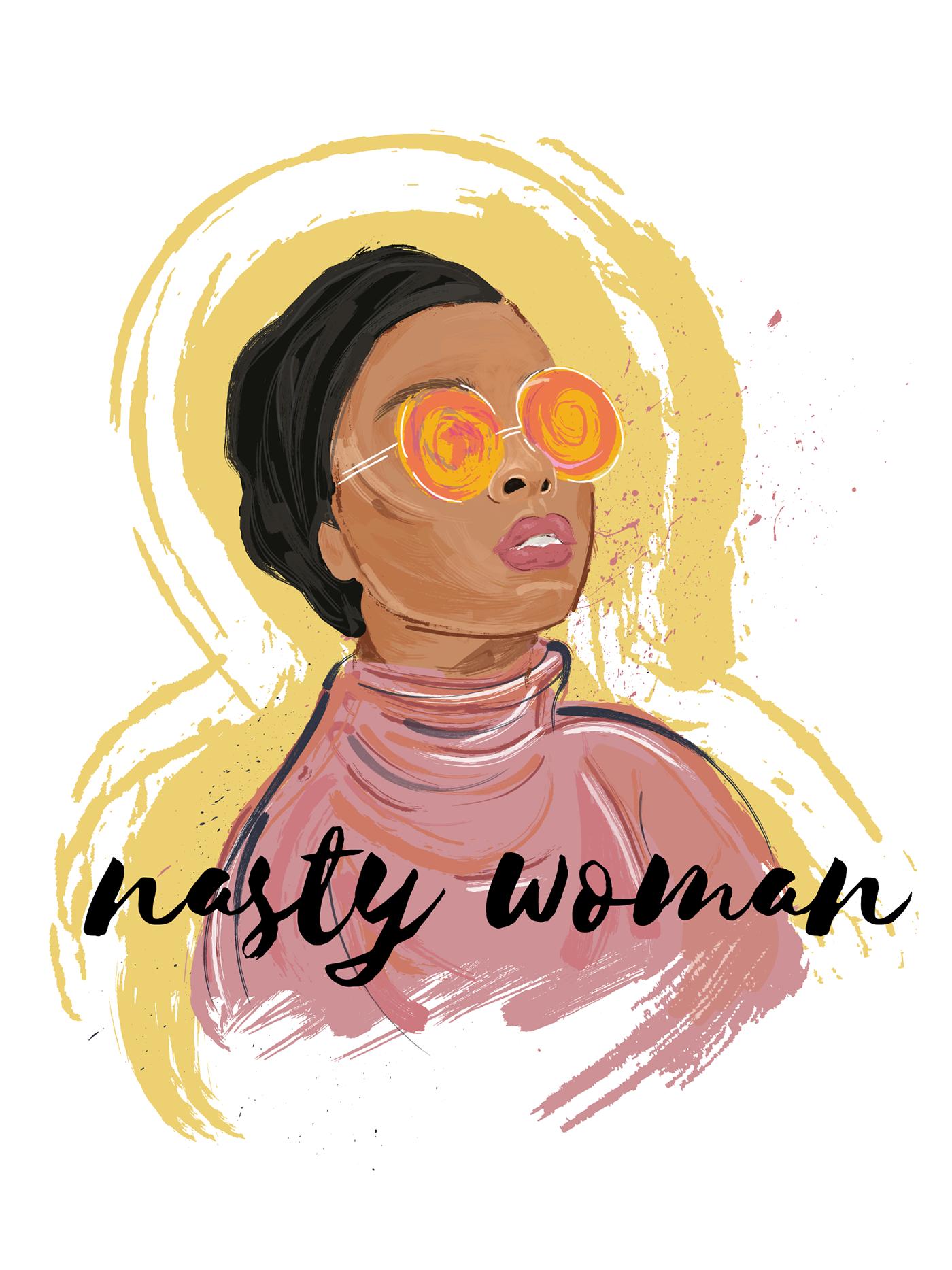 Nasty Woman Resist portest feminisim feminist ILLUSTRATION  adobe illustrator digital painting brushes Custom Brush