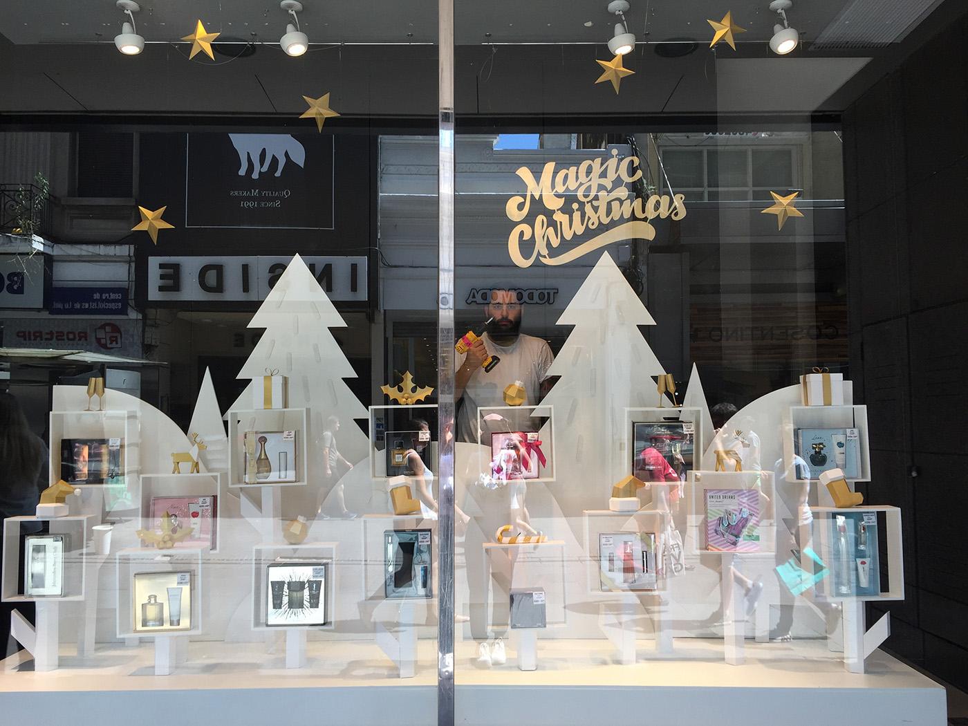 lowpoly papercraft Window Display vidriera escaparate navidad Christmas xmas White and gold juleriaque