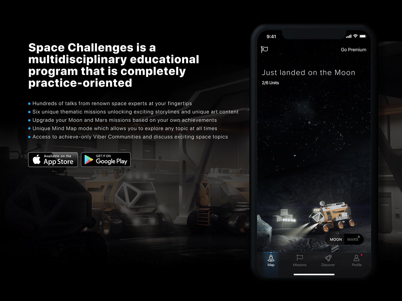 app UI/UX Space challenges Space  ios moon educational dark UI black