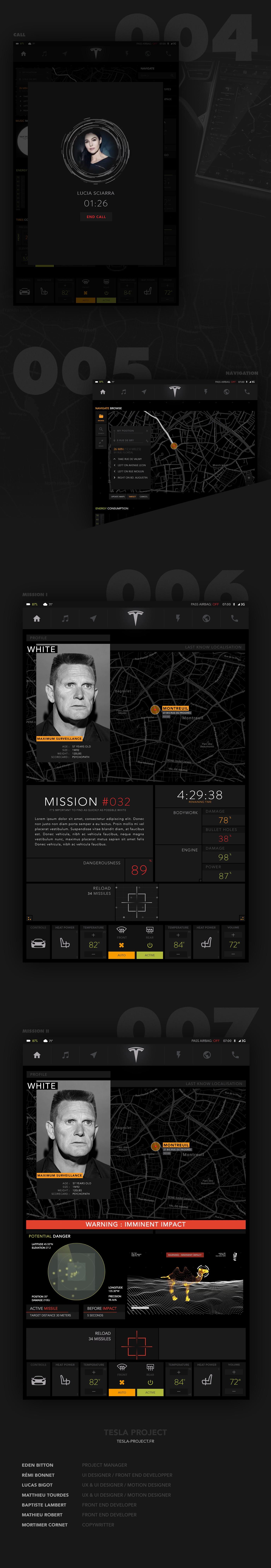 redesign Interface tesla spectre motion design UI & UX interaction