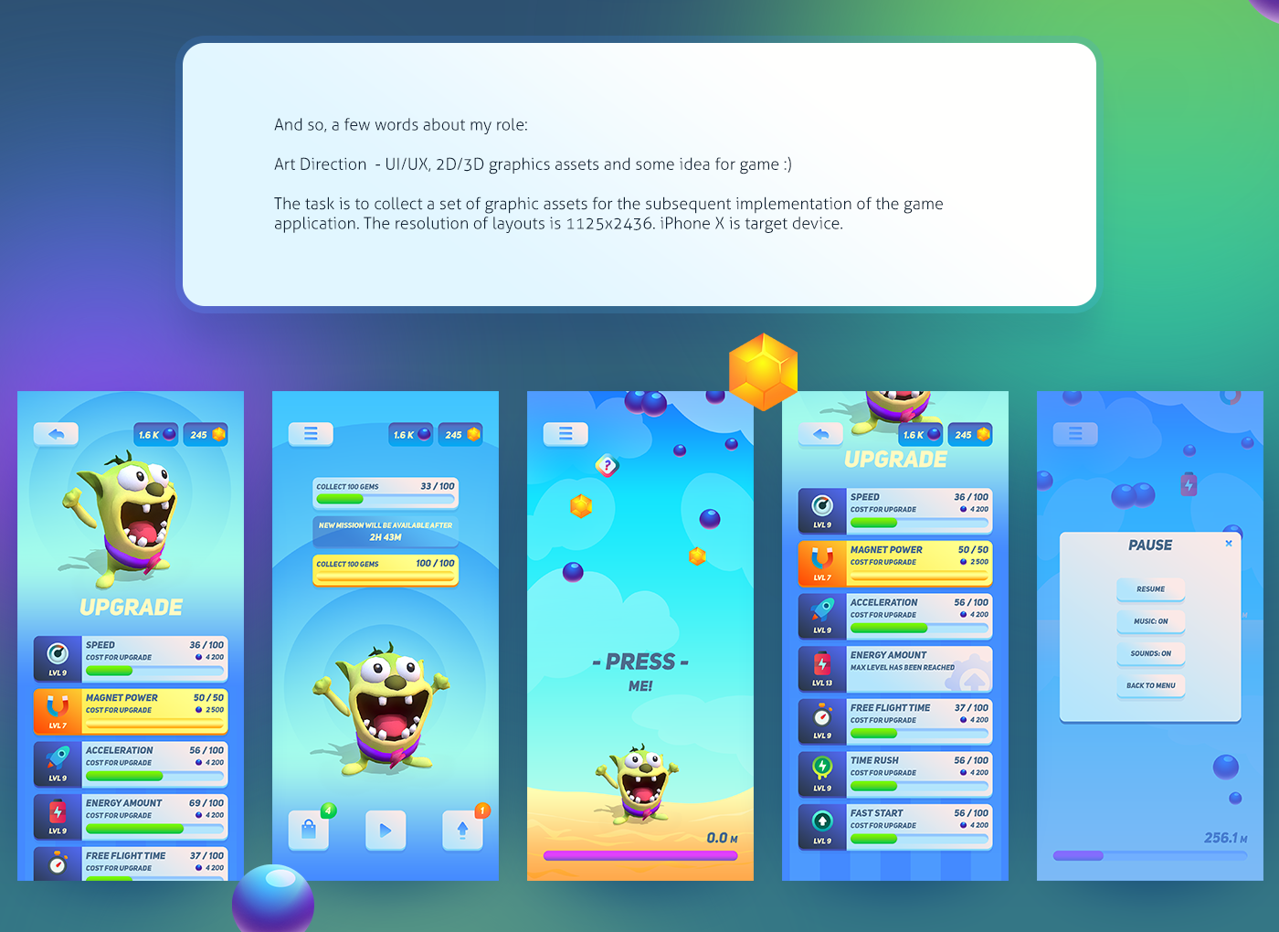UI ux 2D 3D casual ios mobile game colorful ArtDirection