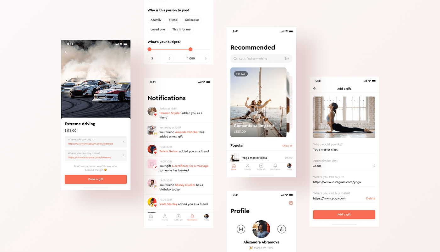 Adobe XD animation  gift gift giving interaction Mobile app UI ux wishlist Interface
