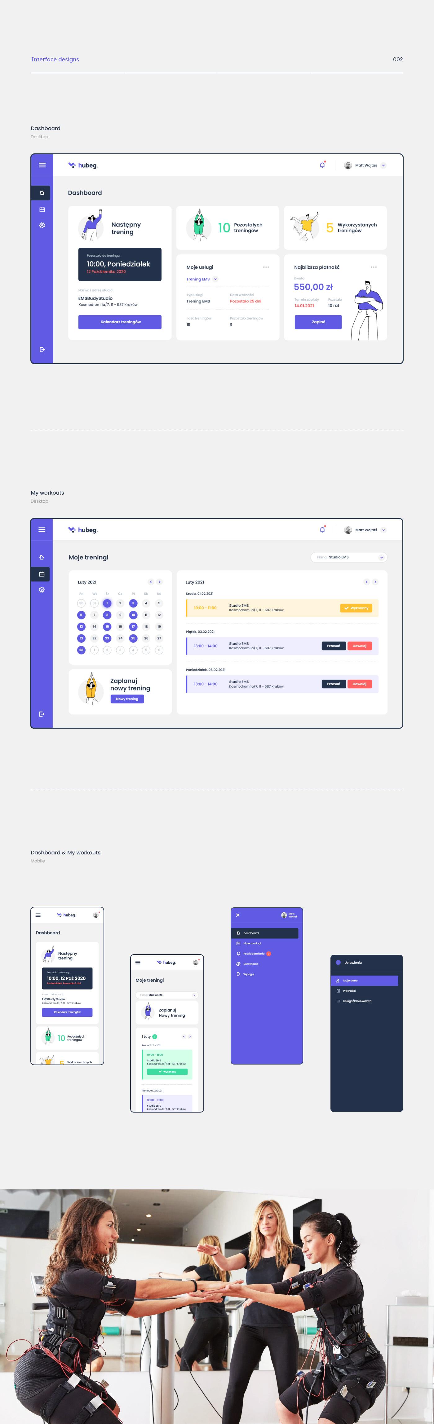 app application ems Platform sport studio system webapp workout