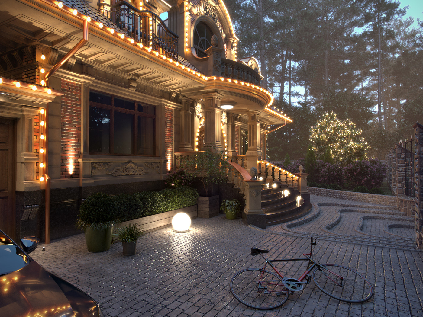 Image may contain: outdoor, bicycle and house