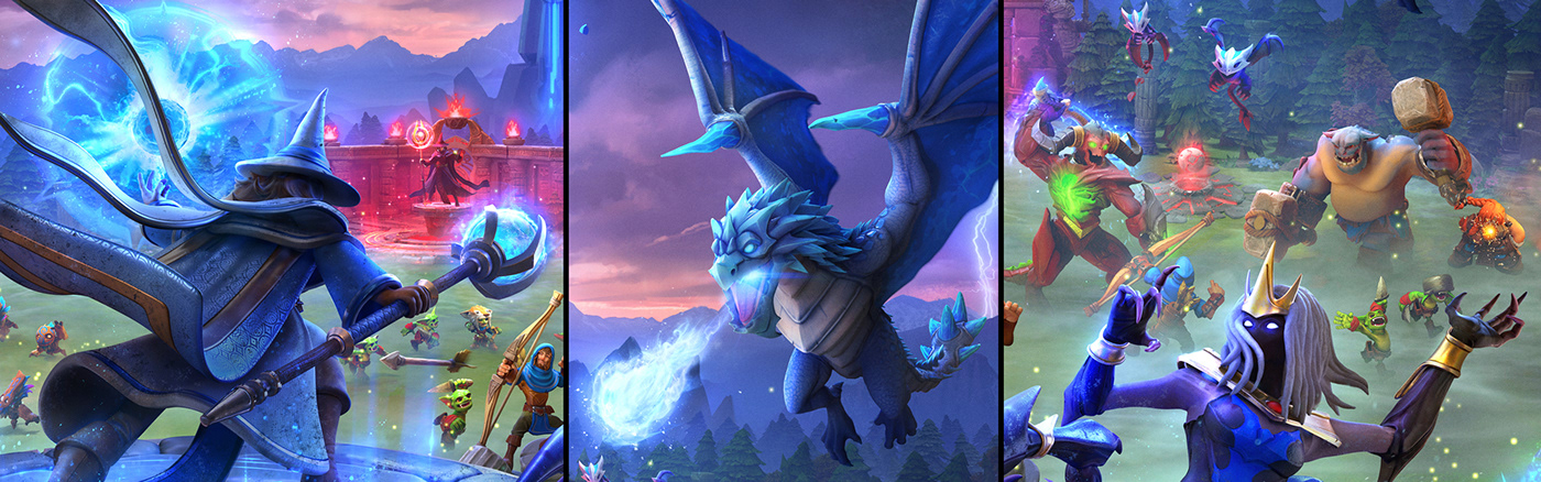 keyart dragons 3D mobile gaming ILLUSTRATION  Wizards effects Magic   art direction  monsters