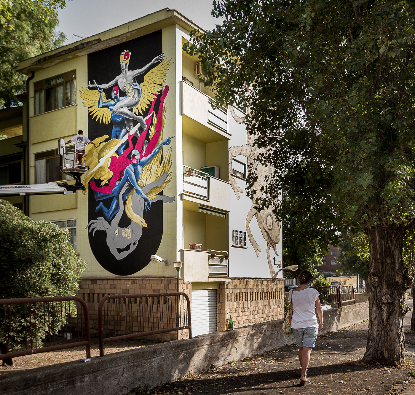 architecture Character handmade ILLUSTRATION  Mural paint painting   streetart Urban wall