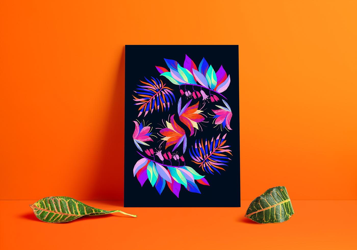 botanical brush color flat floral ILLUSTRATION  Nature pattern poster texture
