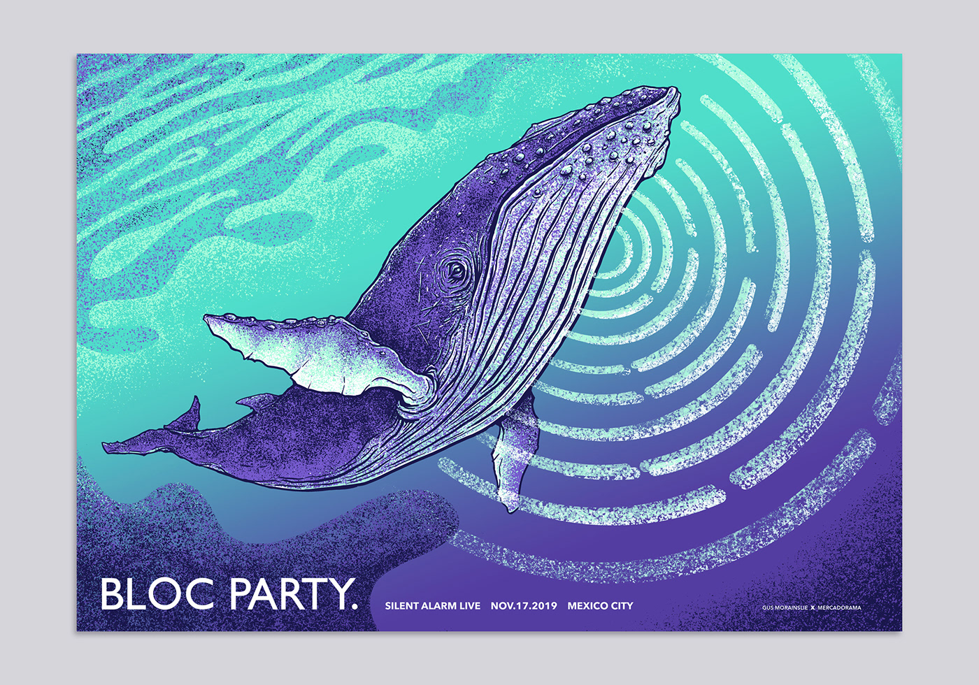 blocparty design gig poster ILLUSTRATION  music poster print screenprint Whale