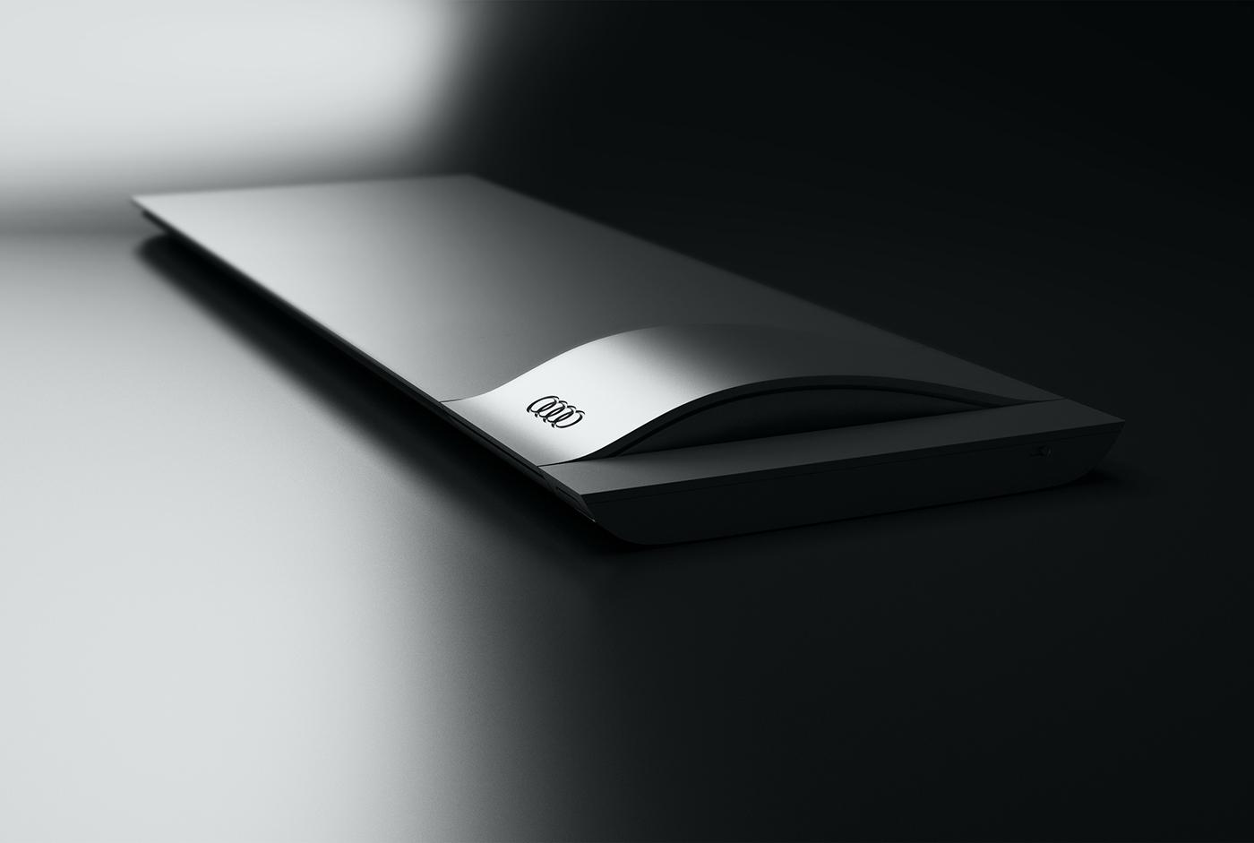 Audi Office desktop wireless bluetooth keyboard mouse tablet trackpad touchpen module modern aluminium layer car