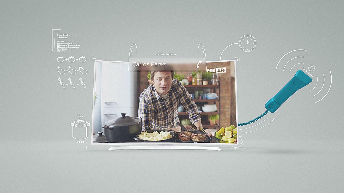 telephone communication 3D broadcast tv cook infographics styleframes vodafone 2D