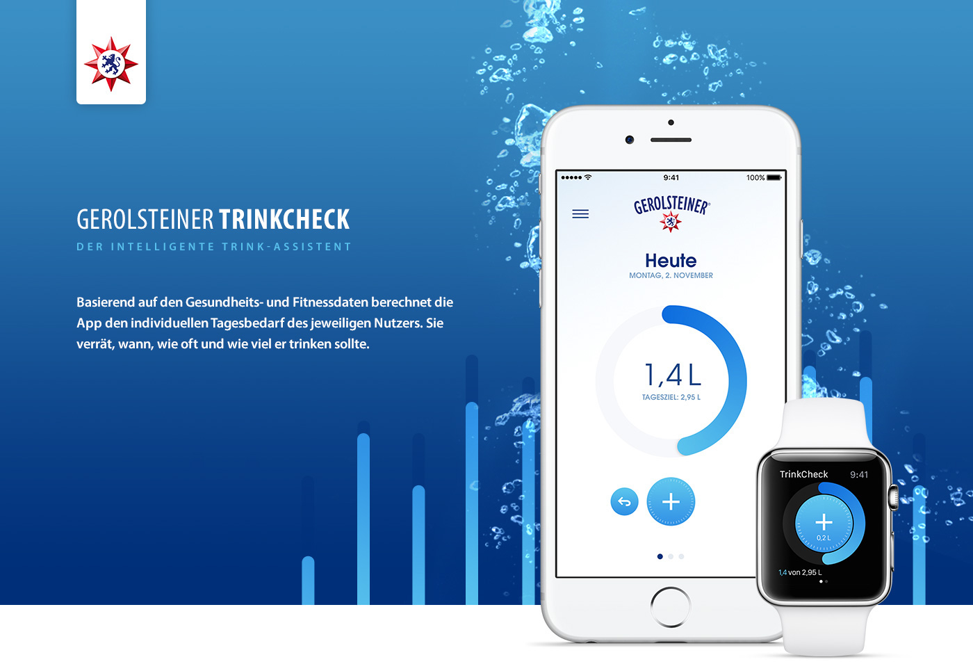 water mineralwater drink track app Native ios check quantified gradient White blue bubbles messure