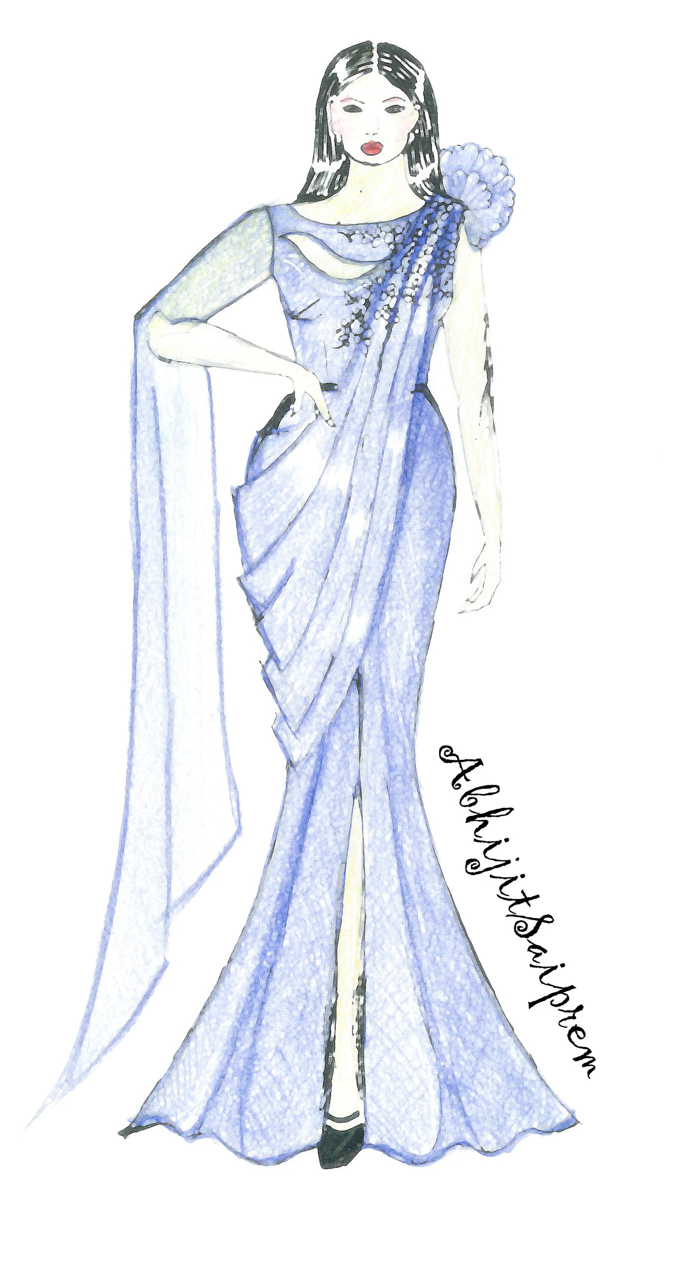 Ethnic Wear Fashion Design Illustration Sketches Download Illustration 2020