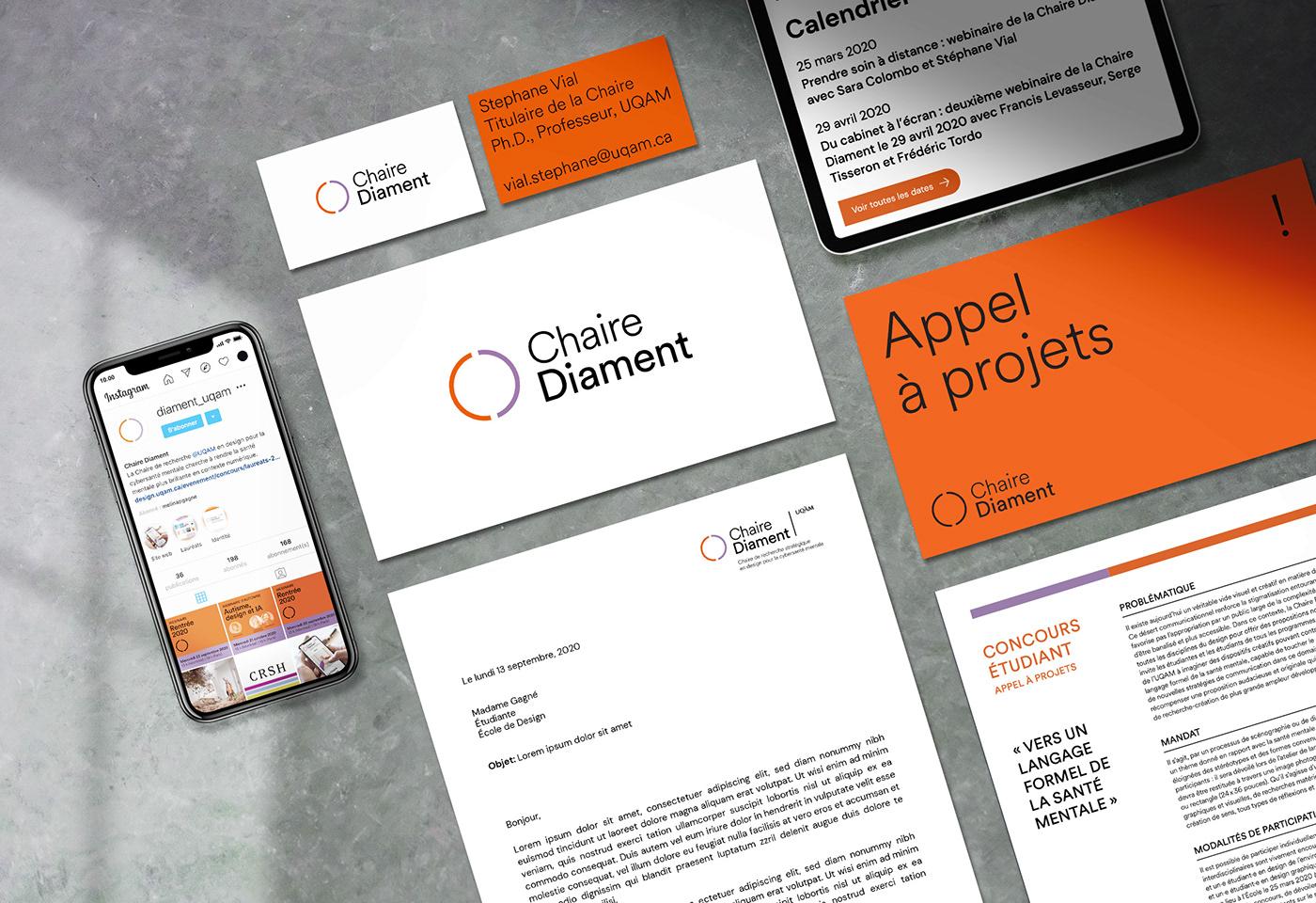 branding  Chaire Cybersante diament marque recherche santé mentale UQAM