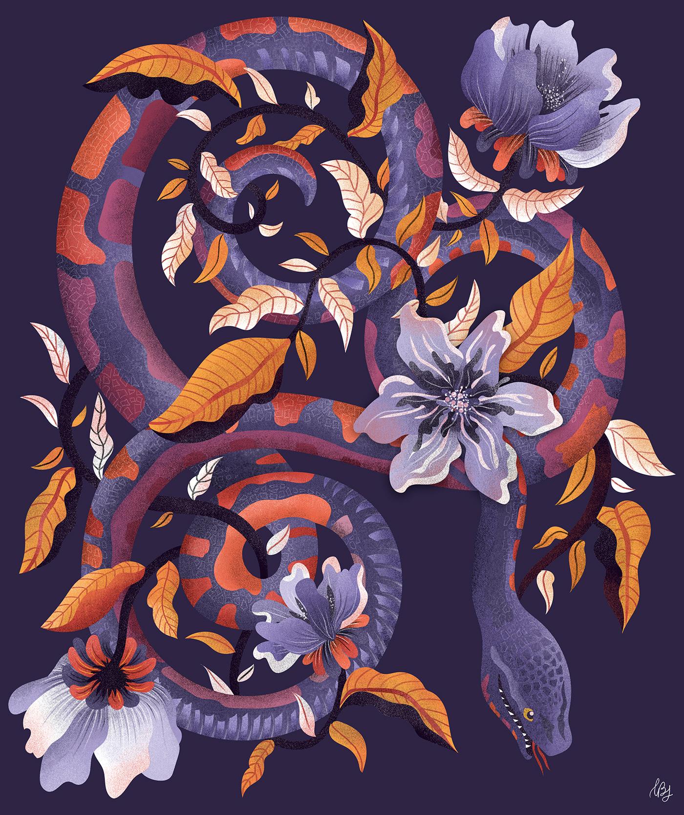 botanical botanical illustration floral floral illustration graphic design  iguana ILLUSTRATION  Nature reptile reptiles