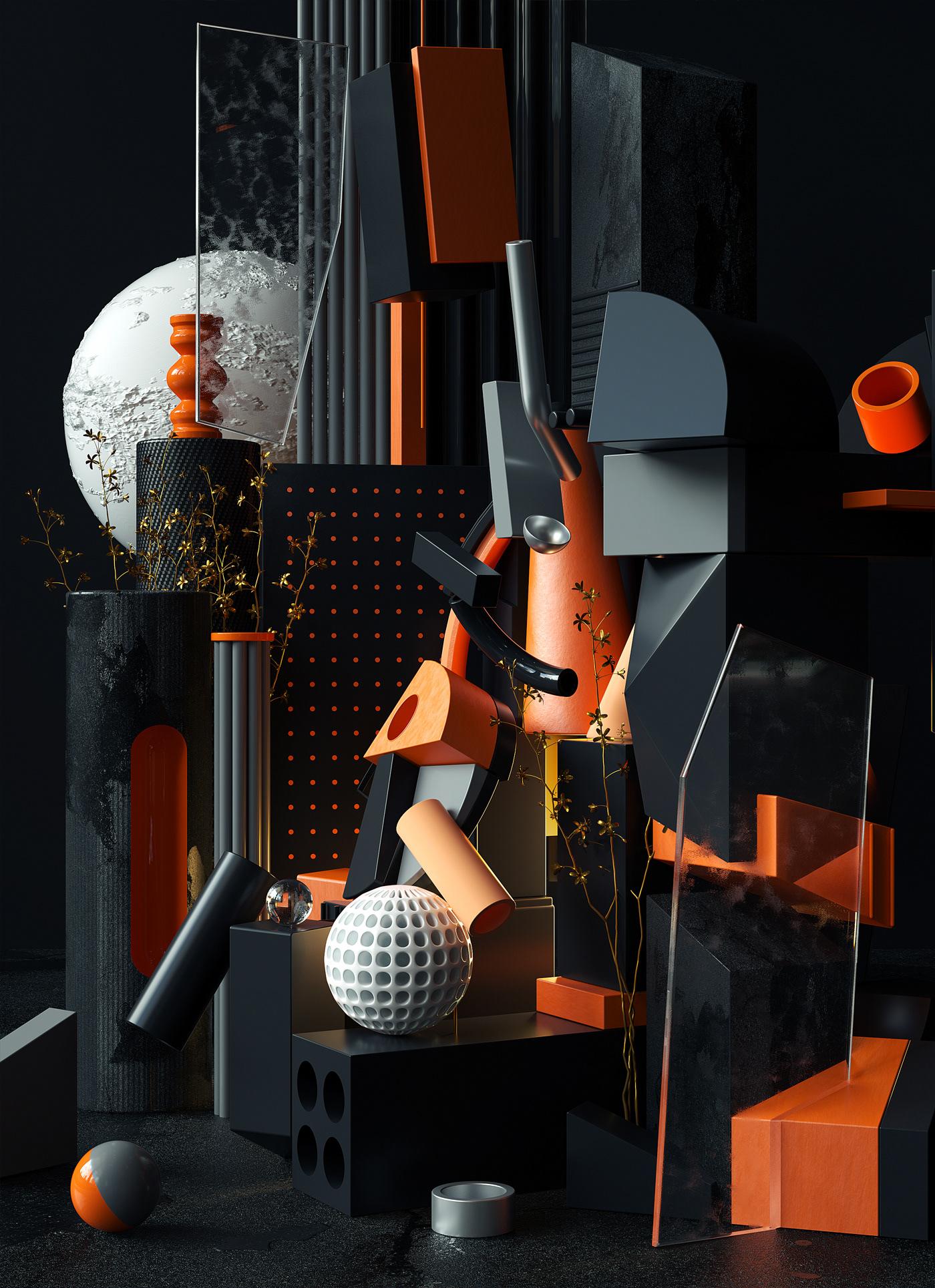 3D art design still life compositions set design  modern cubism cinema4d Picasso