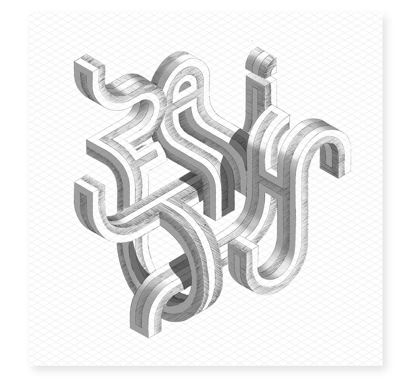 colour Illustrator Isometric lettering type typedesign typography   vector font design