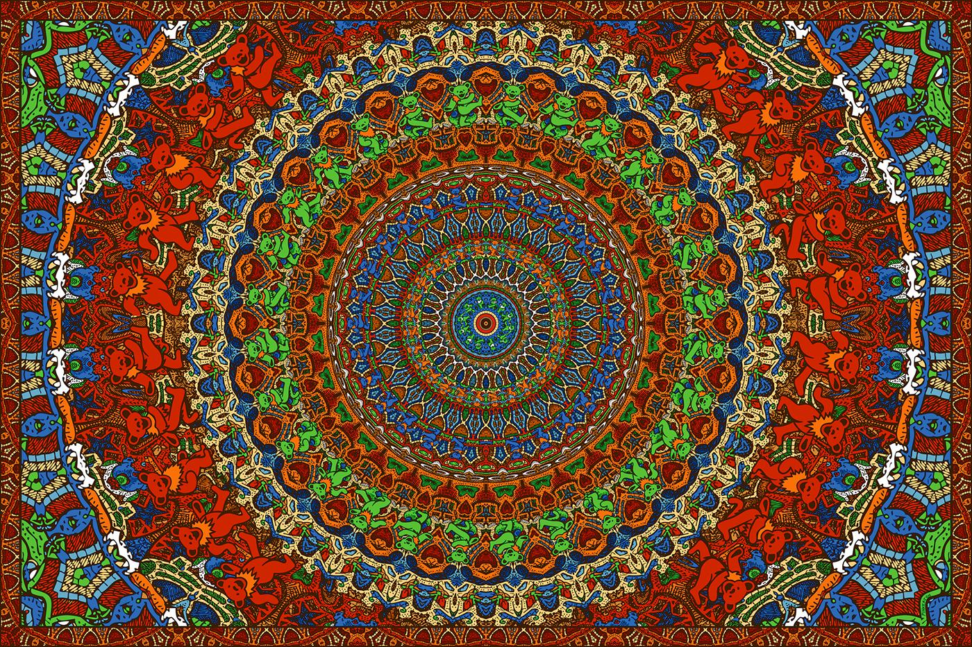 3D Grateful Dead Jam Bears Tapestry