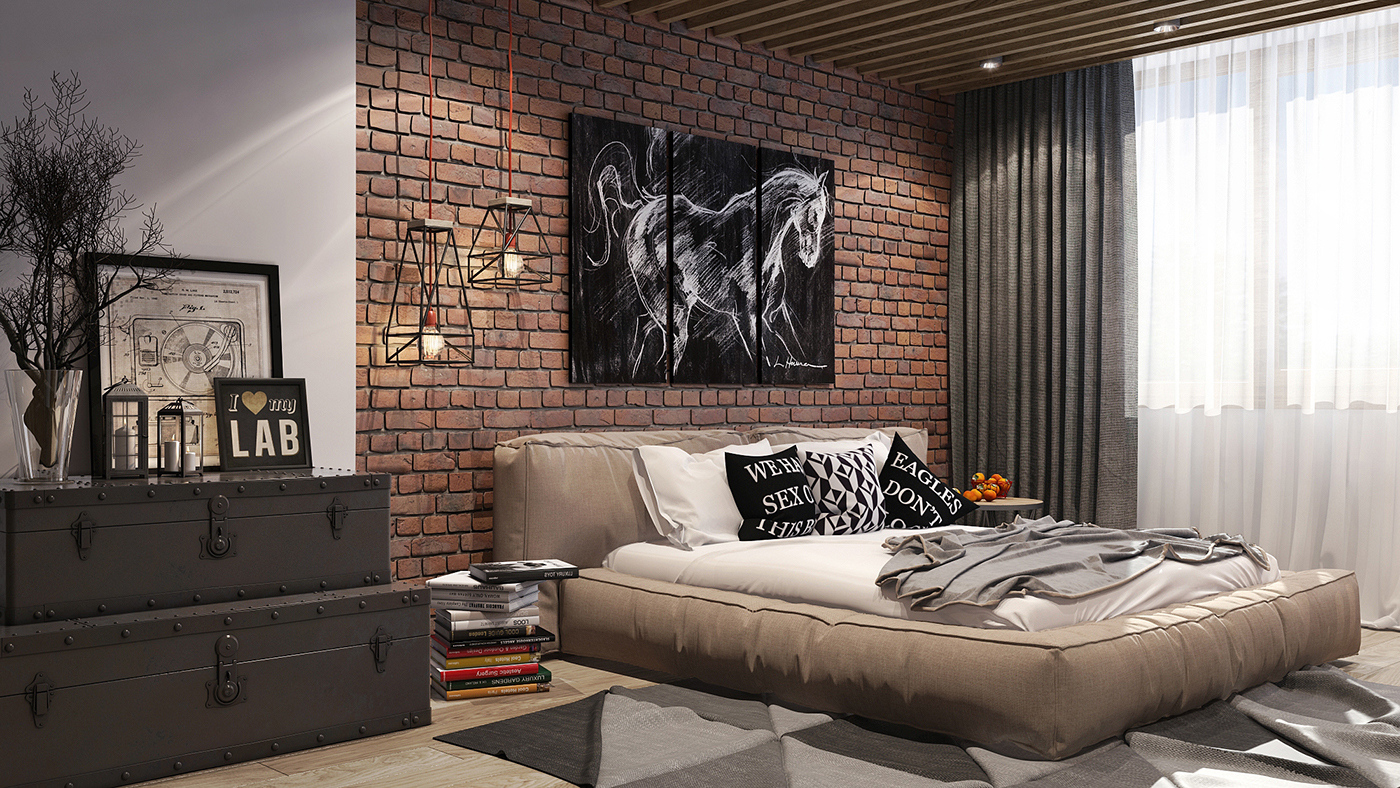 Loft style bedroom on behance - Deco chambre adulte design ...