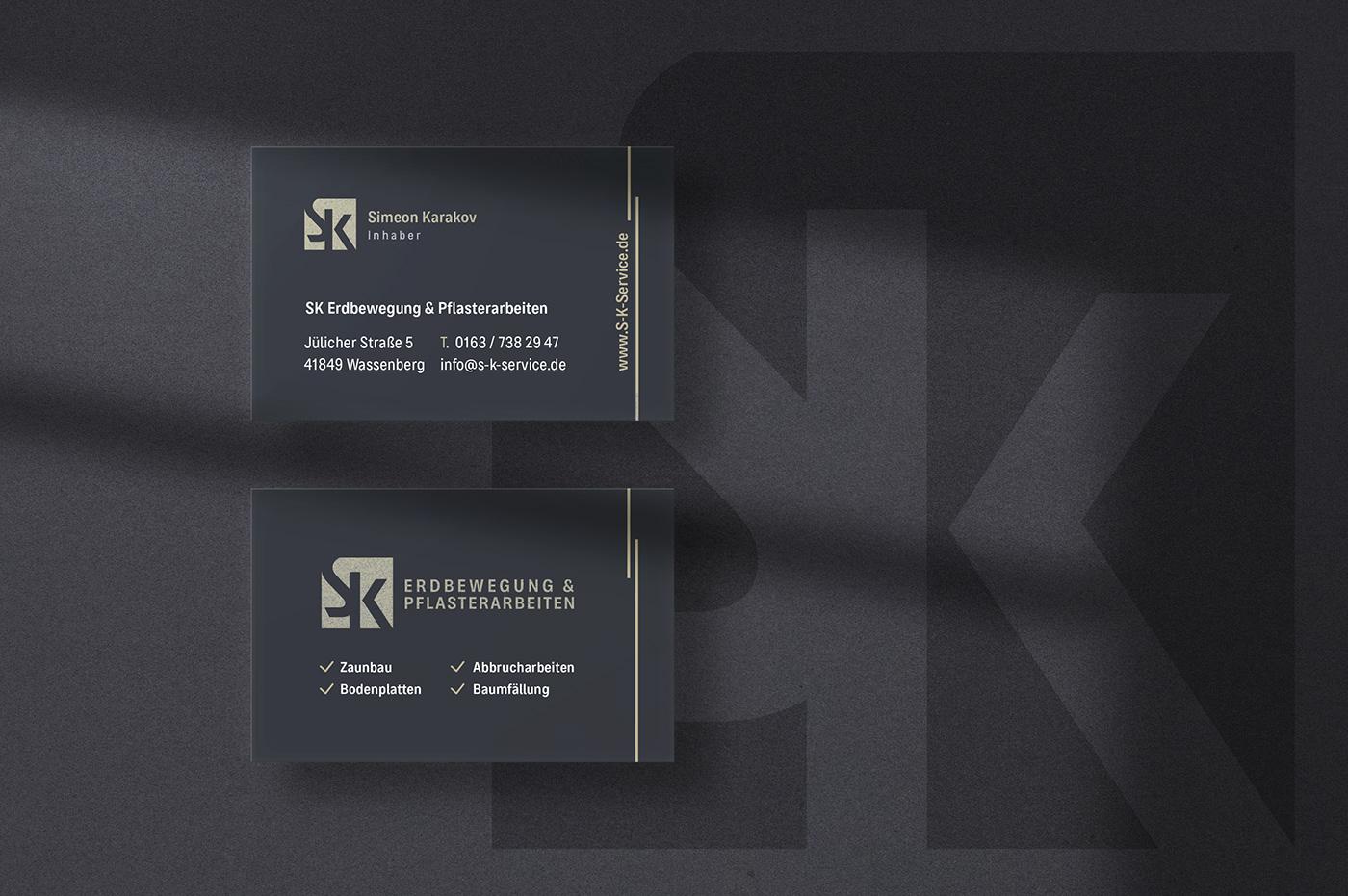 brand identity business card corporatedesign erdbewegung logo Logo Design Metall modern pflasterarbeit visitenkarte