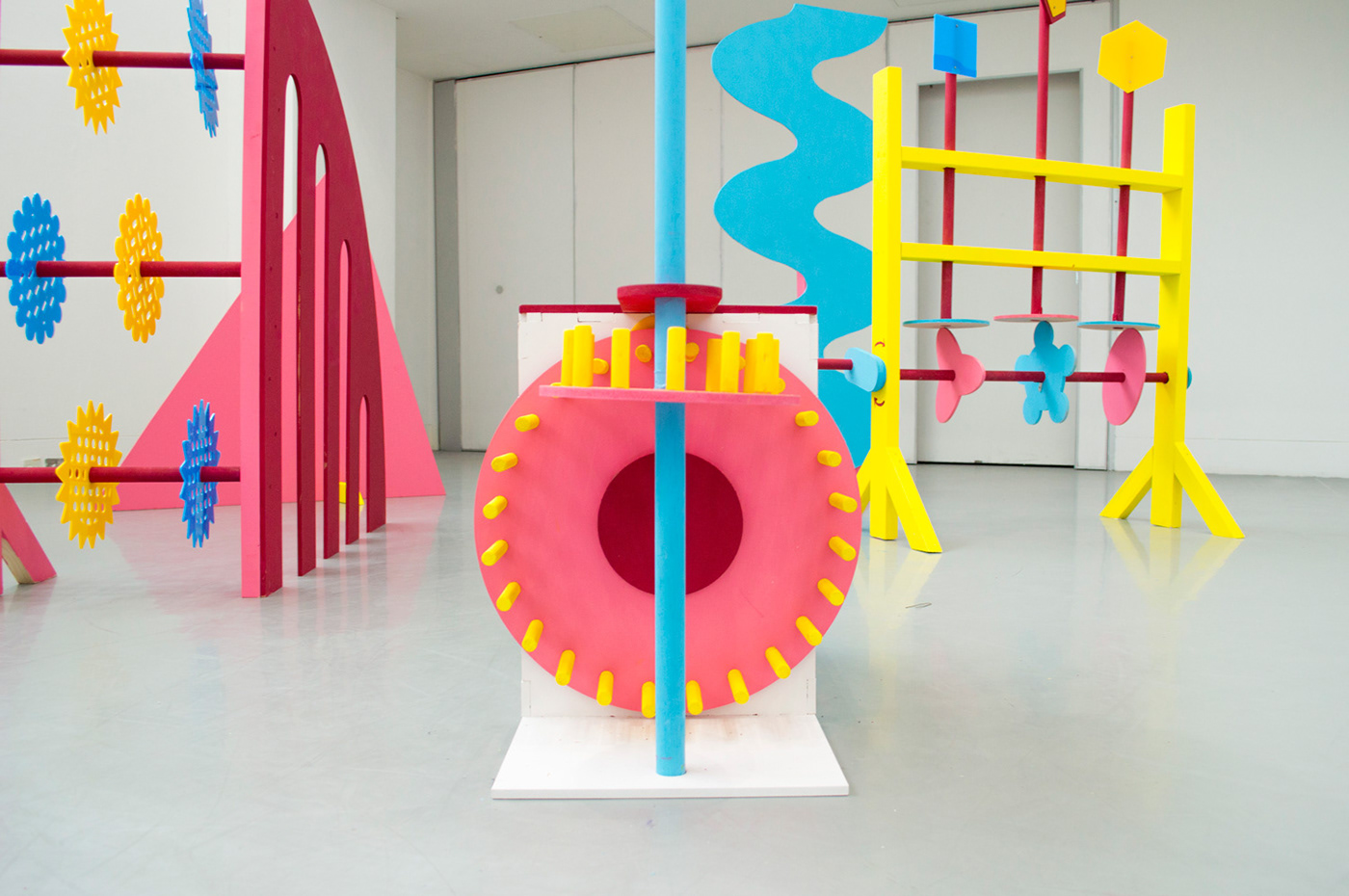 sculpture interactive installation Exhibition  woodwork cnc laser cutting colour play