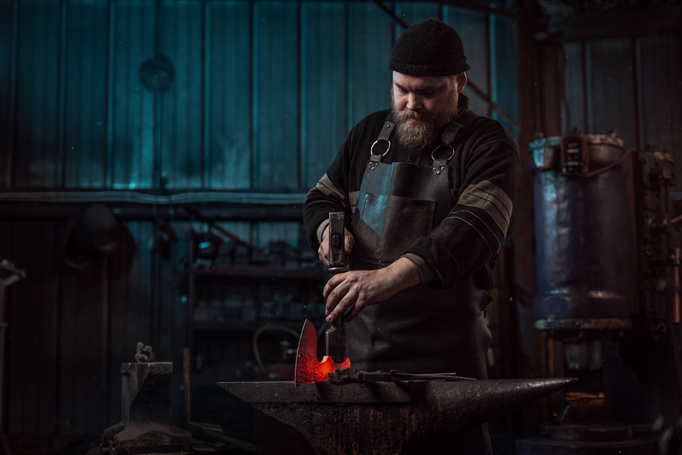 smithy iron fire man Production portrait hands leather manufacture axe