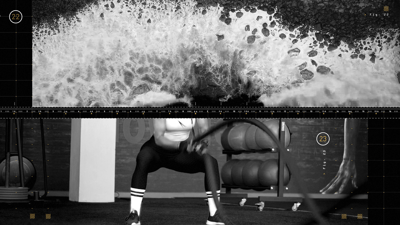 Split screen of waves crashing and a female athlete doing battle ropes