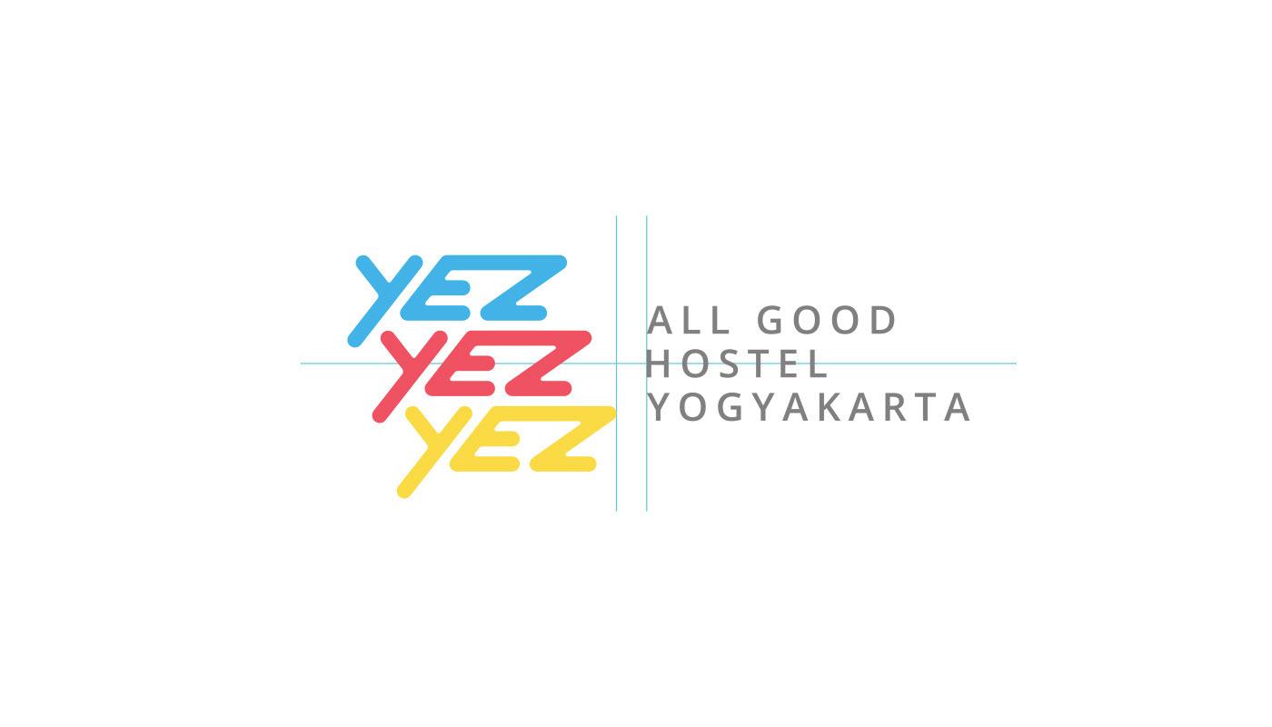 branding  Logo Design hostel yogyakarta yez yez yez Street Art