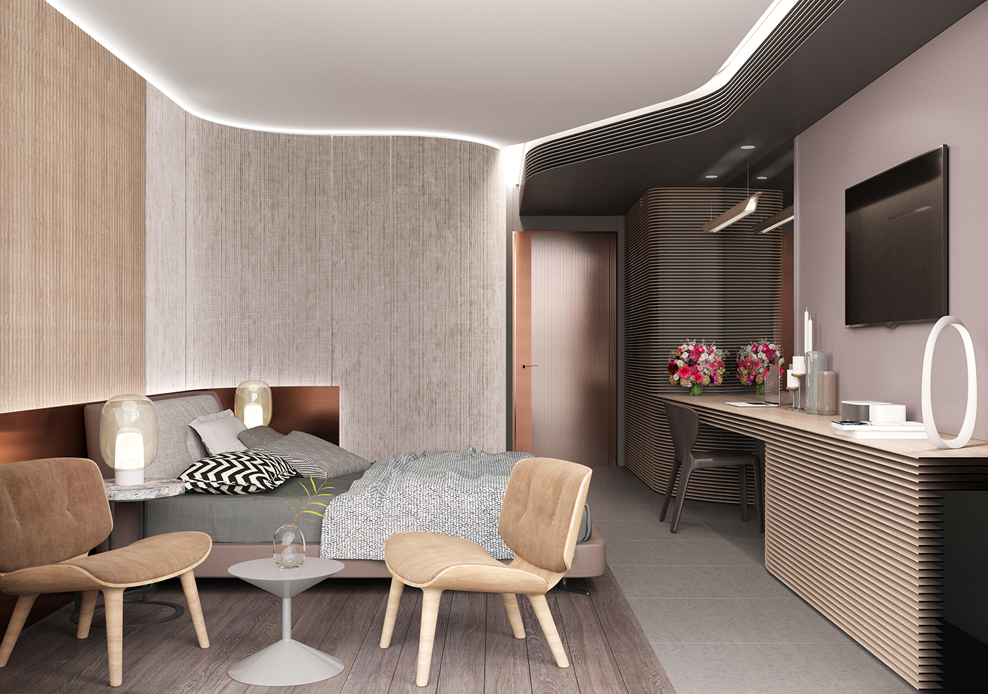hotel room corona render on behance. Black Bedroom Furniture Sets. Home Design Ideas