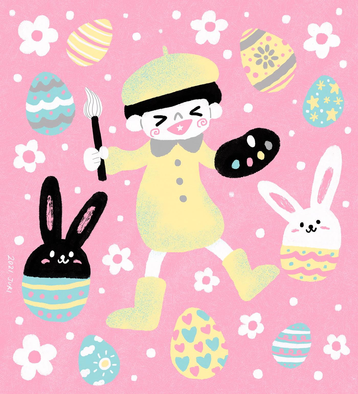 Easter easterbunny eastereggs ILLUSTRATION