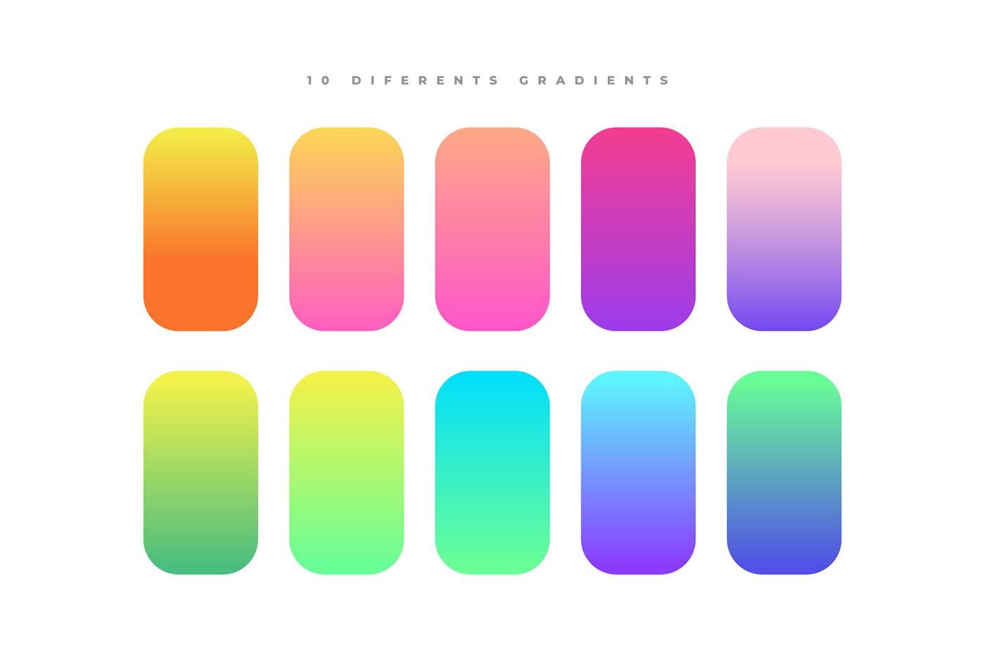 background gradient gradients holographic Illustrator modern Pack texture