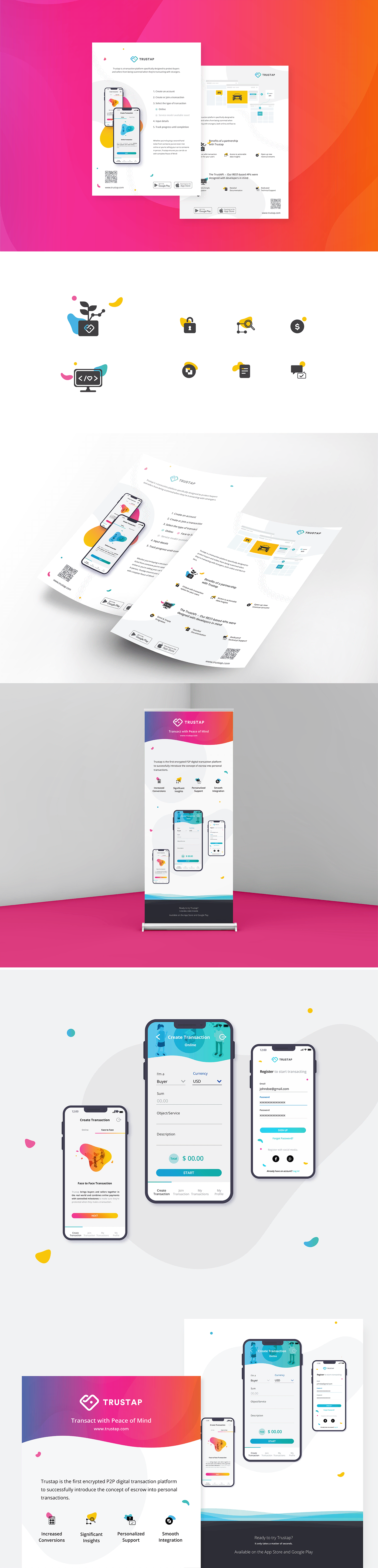 A set of flyers and banner designed to advertise an online transaction mobile app.