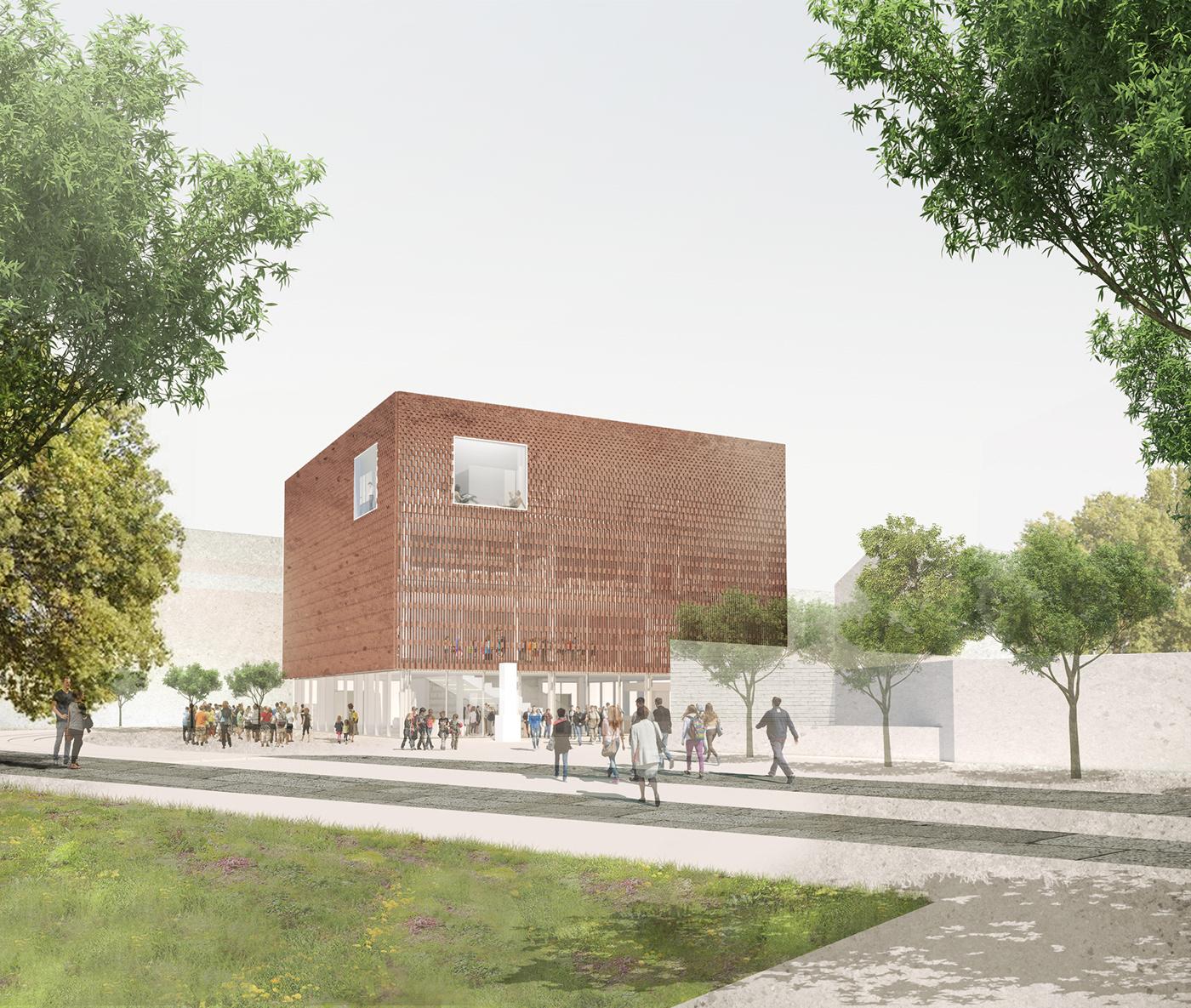 architecture brick CityCenter Events garden knowledgecenter library public exterior visualization