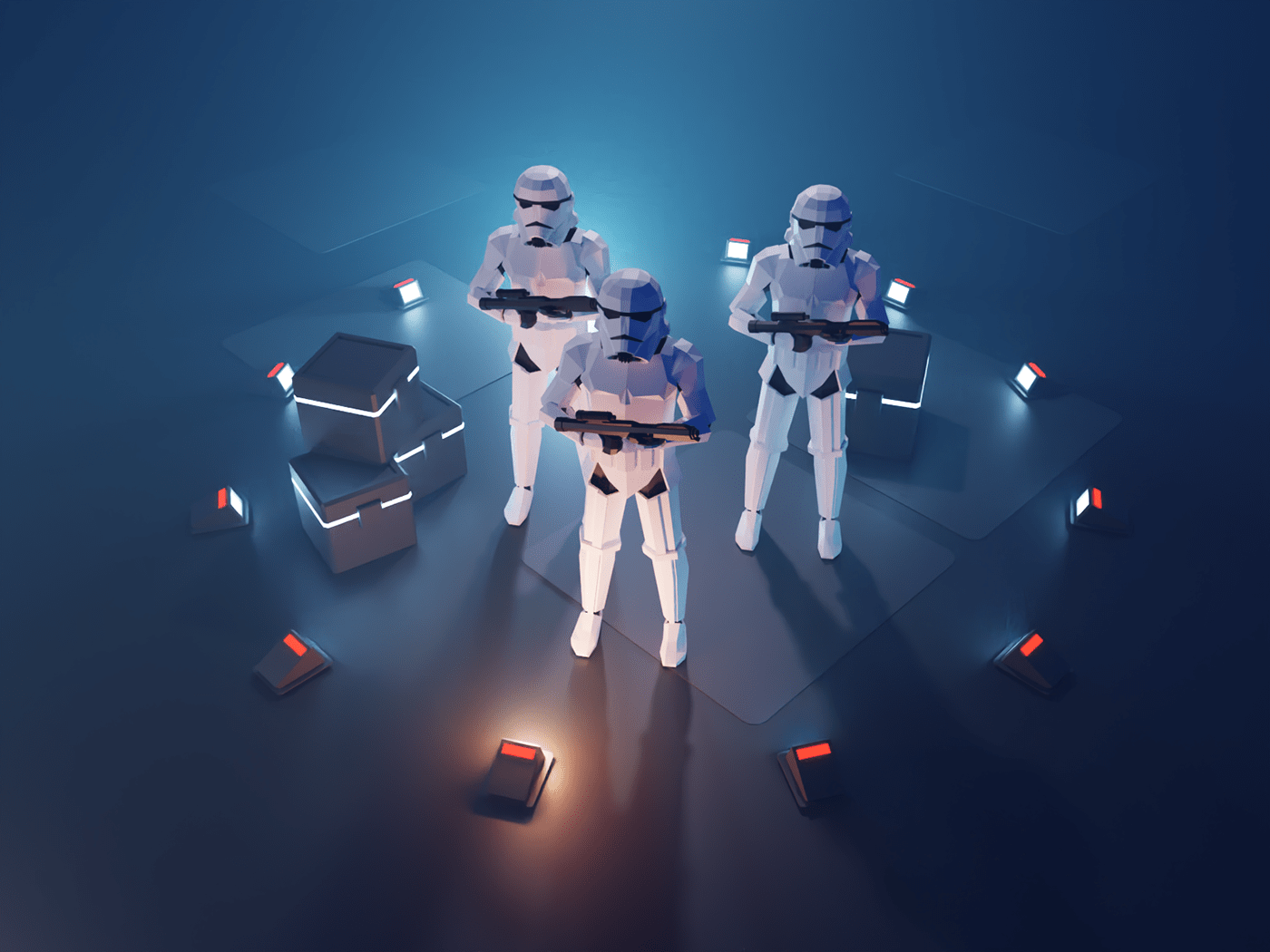 Imperial stromtroopers in cargo bay