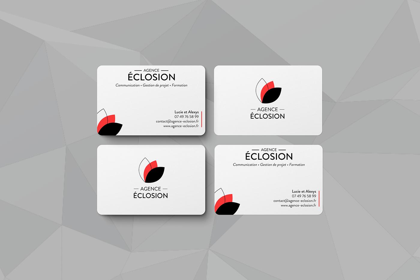 agence éclosion agence éclosion vannes business card carte de visite content Création de contenu Mockup