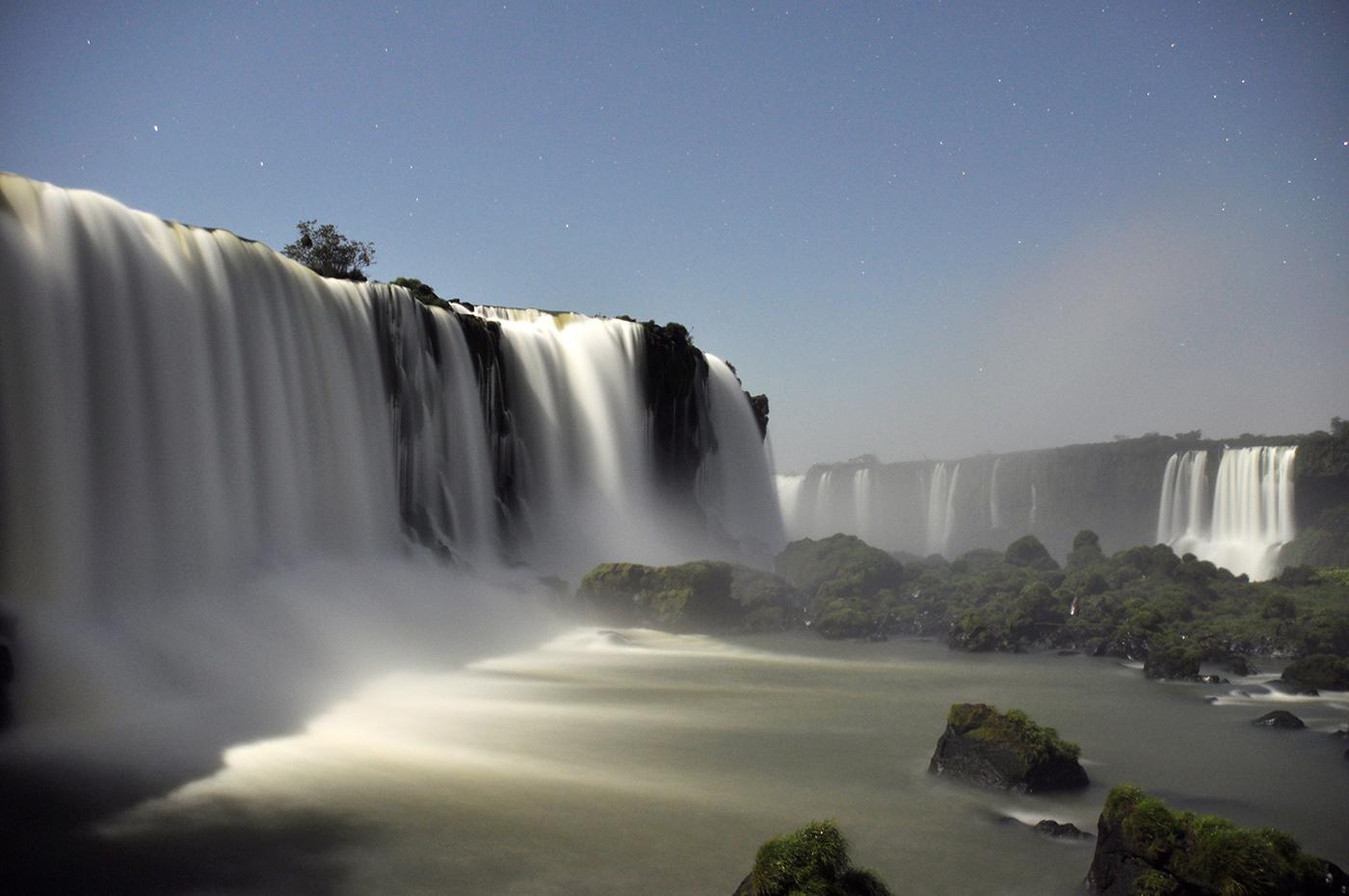 waterfall Photography  photo Behance art design night moon