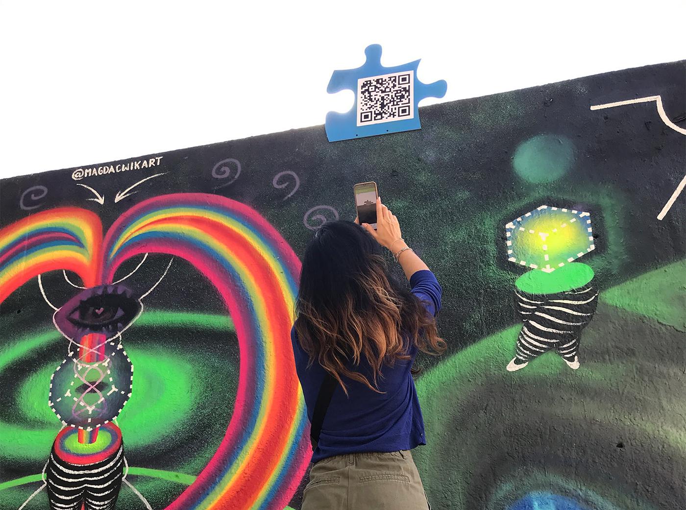 Conscious Art energy Female Street Artist frequencies healing art interactive art Mural spraypaint Street Art  universe