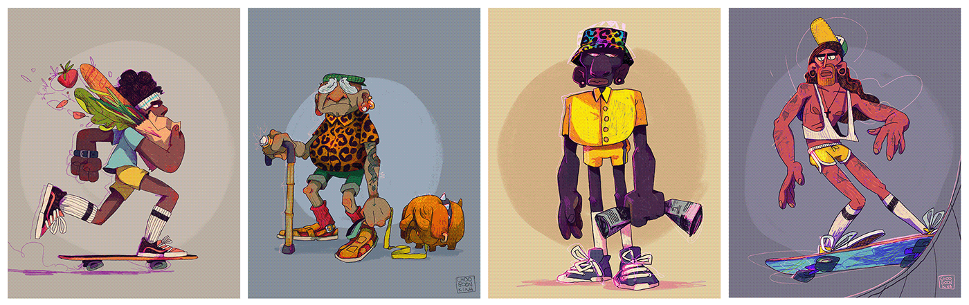colors dog Fashion  jesus leopard pattern people people watching Procreate skater sketching