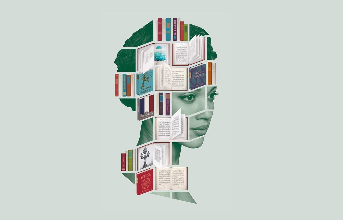 books Book Fair ILLUSTRATION  collage head mixed media