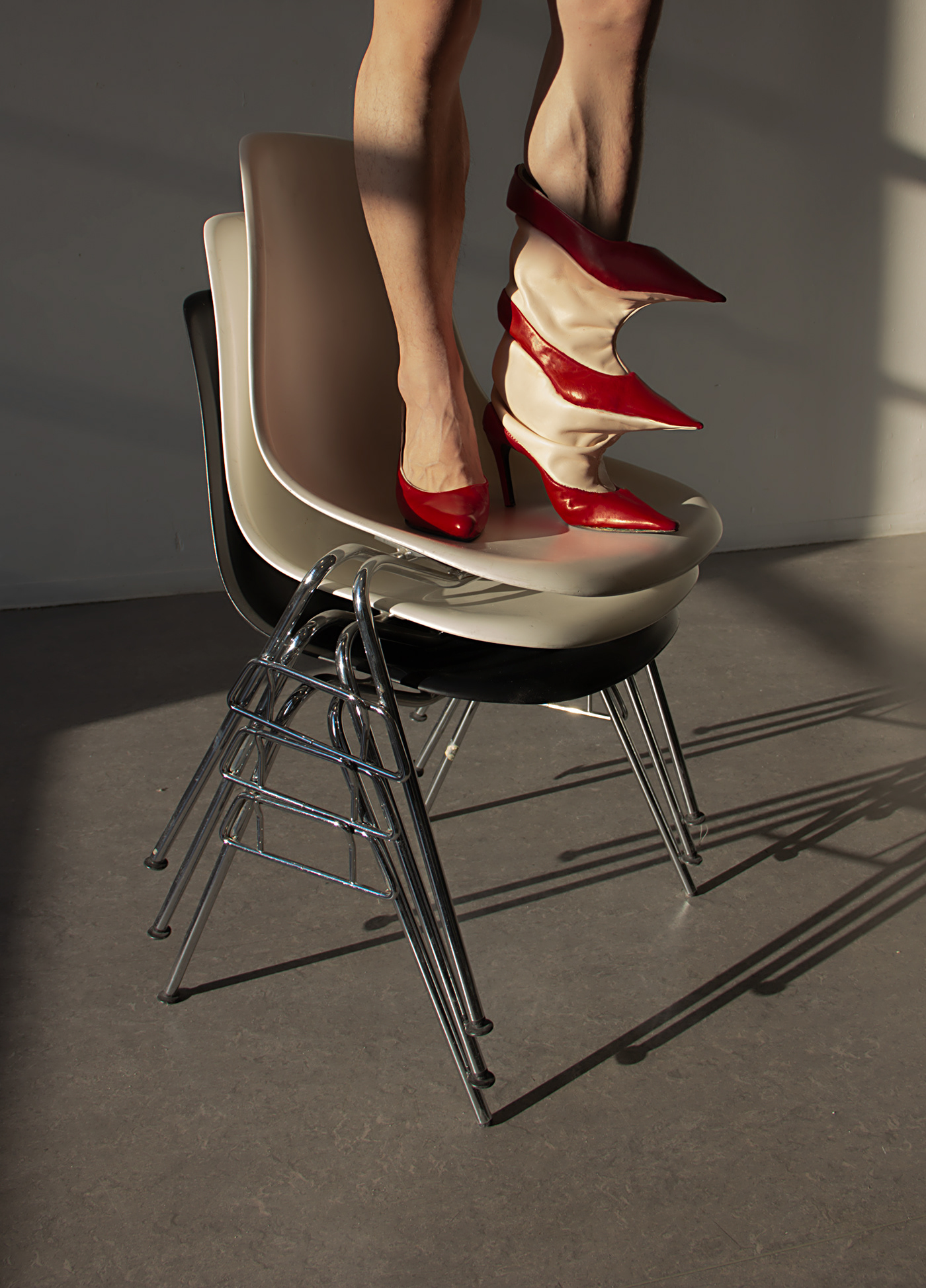 Image may contain: floor, indoor and footwear