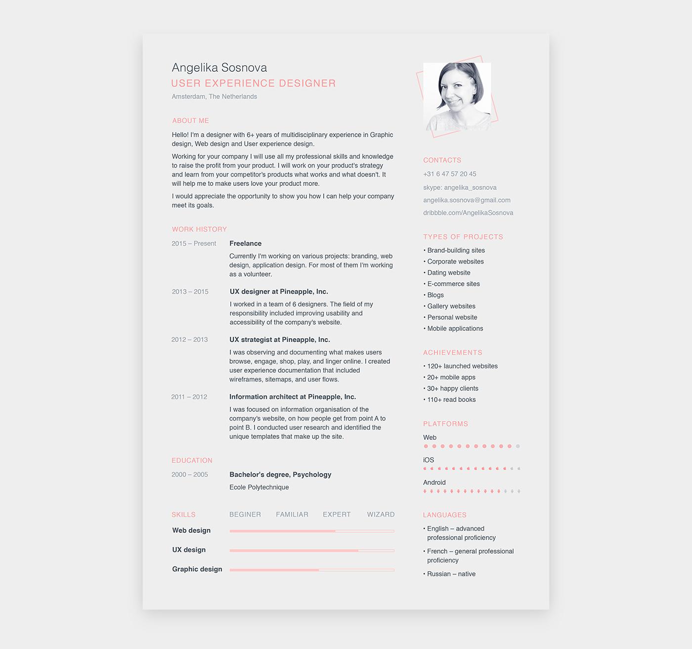 CV resume templates Resume free psd