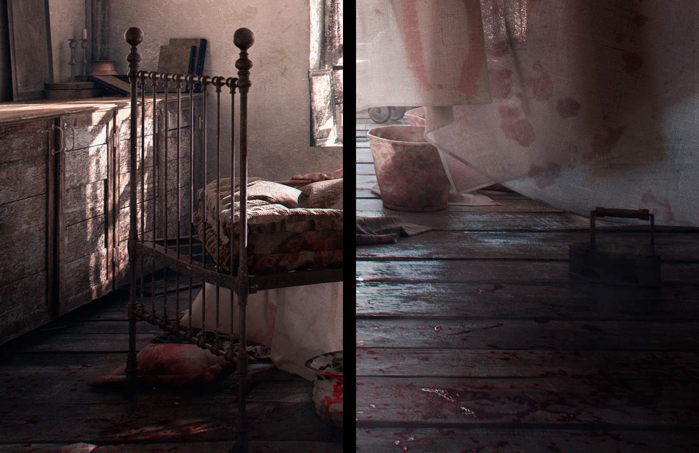 3D old somber gloomy art 3D illustration 3ds max photoshop house old interior Victorian House Victorian Era nostalgia dark suicide