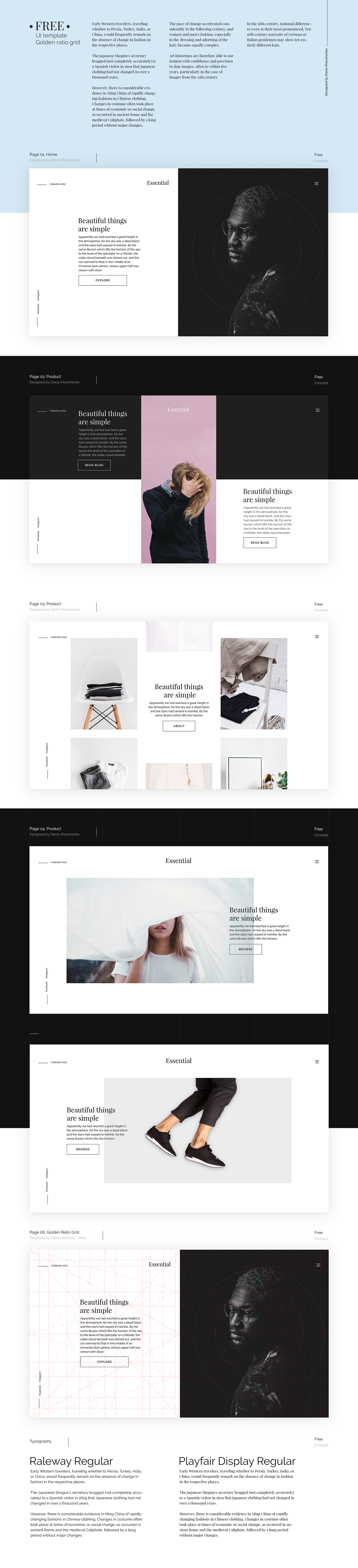 Golden Ratio Web Template PSD Pinspiry - Template based web design