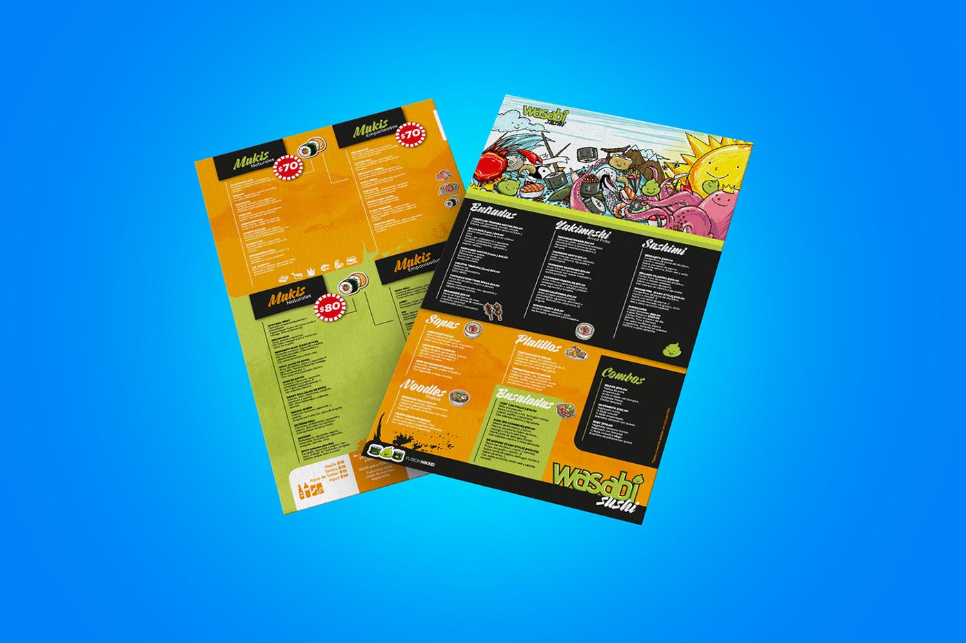 Sushi menu ilustración digital