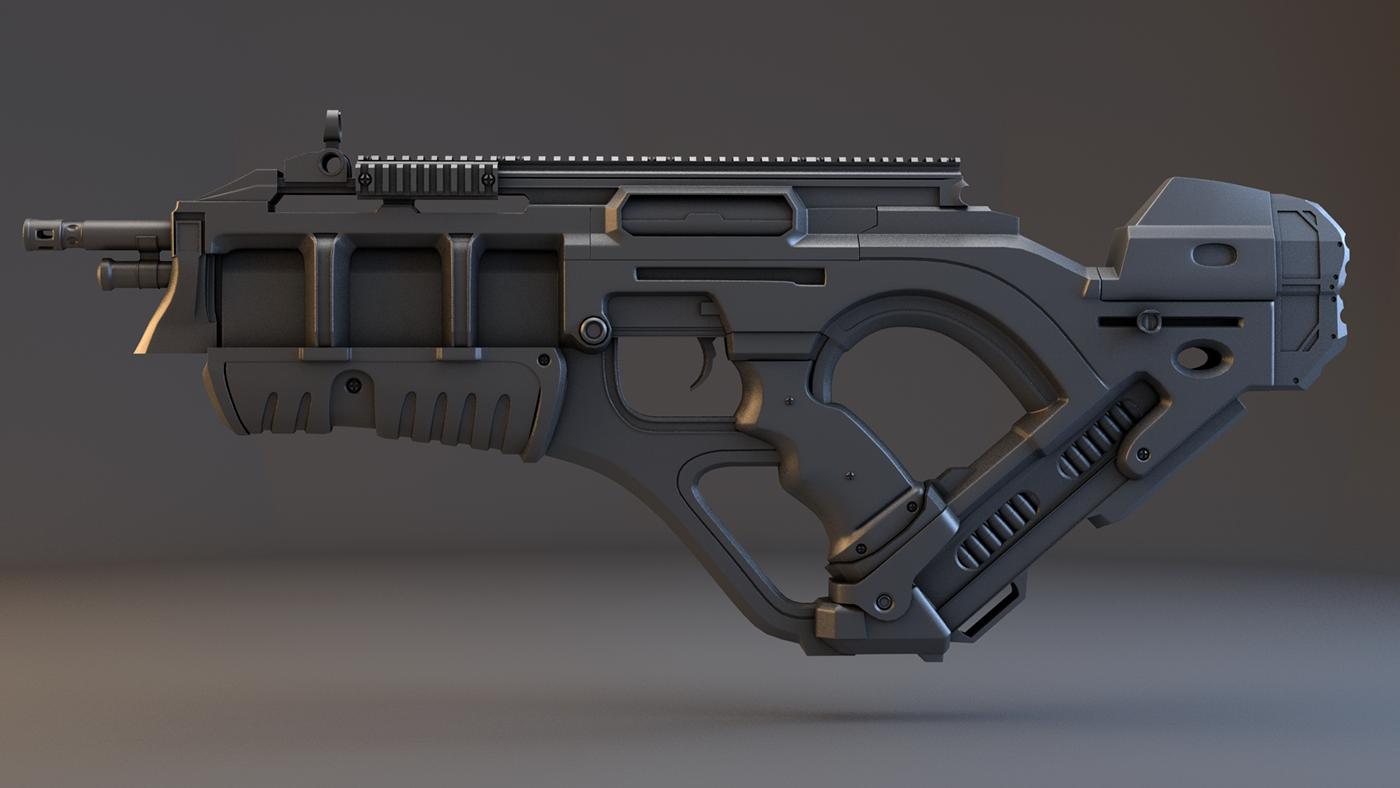 Futuristic Rifle (WIP) on Behance