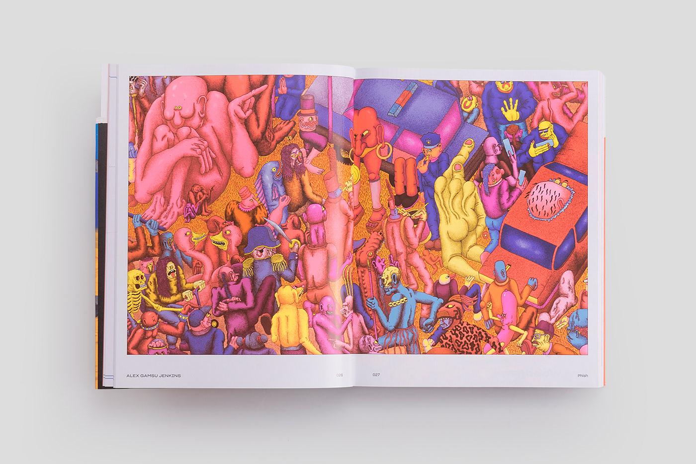 Bookdesign ILLUSTRATION  neoncolor dark humour bizarre artists book