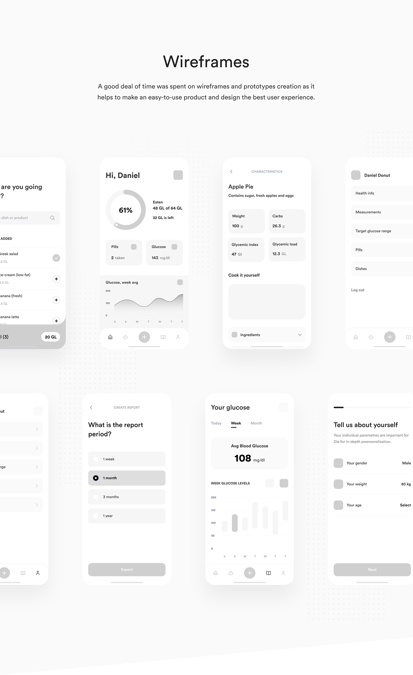 app Case Study diabetes Health healthcare mobile UI ux medical Medical app